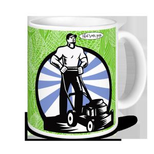 Gardening Mugs - World's Greatest Gardener - Dad & Mower (green)