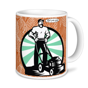 Gardening Mugs - World's Greatest Gardener - Dad & Mower (brown)