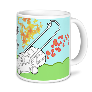 Gardening Mugs - World's Greatest Gardener - Lawnmower (blue/green)