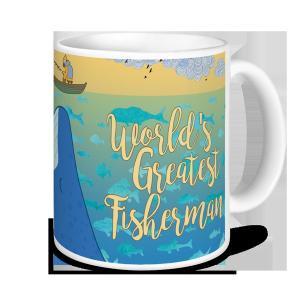 Fishing Mug - World's Greatest Fisherman (blue whale & boat)