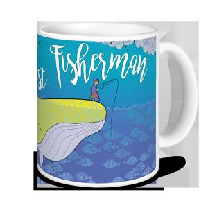 Fishing Mug - World's Greatest Fisherman (sitting on yellow whale)
